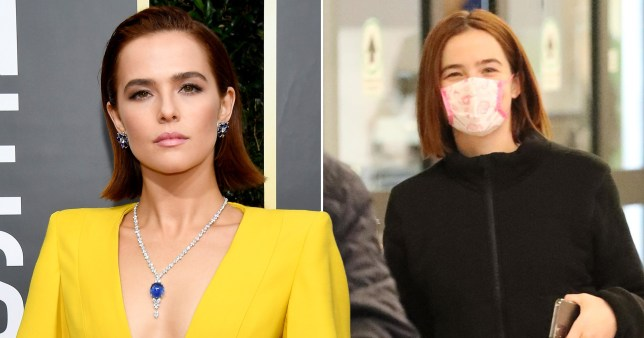 Zoey Deutch pictured at the Golden Globes and separately wearing a face mask