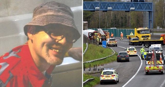 Kirk Butcher, 45, from Ebbw Vale, Gwent, and scene of the crash he was killed at on the M4 near Newport, South Wales