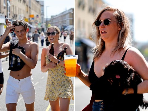 Londoners enjoy takeaway beers in the sun as temperatures near 28°C