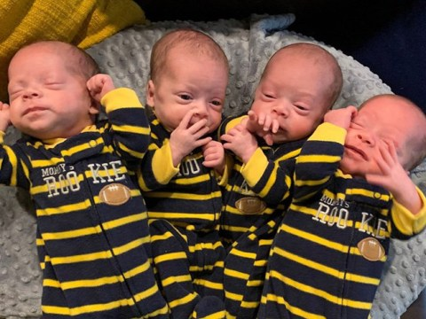 Mum gives birth to identical quadruplets, defying one in 15 million odds