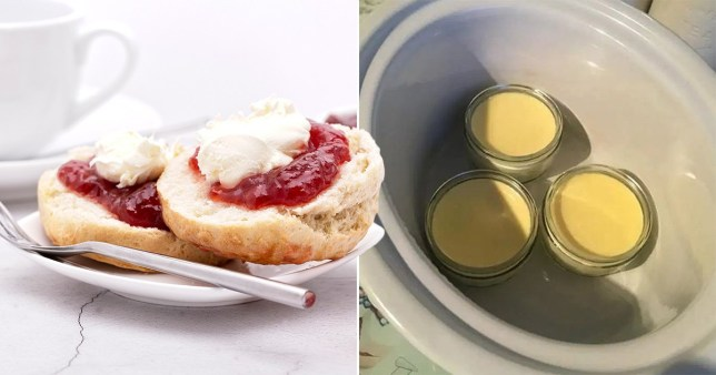 close up of scones and homemade clotted cream