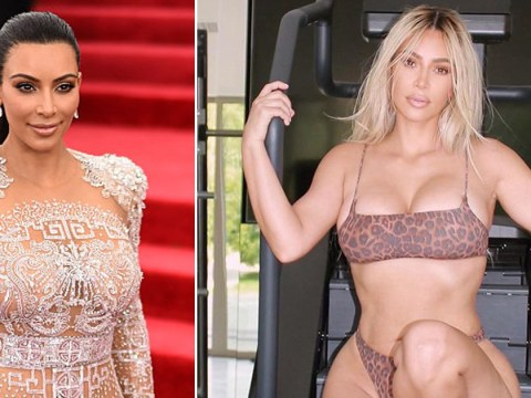 Kim Kardashian's gym chic very different to ours as she dons leopard print underwear