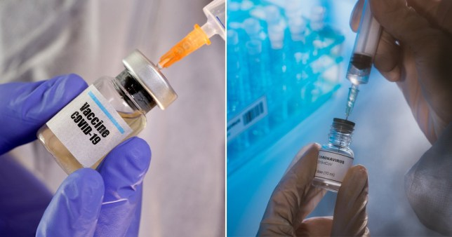 Scientists prepare dosages of a coronavirus vaccine for human trials