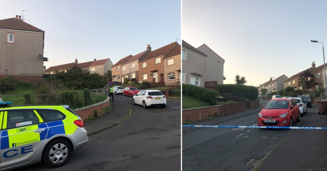 Police at the scene of a shooting in Nithsdale Road, Ardrossan in North Ayrshire