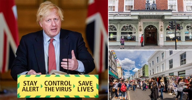 Boris Johnson announced that outdoor markets and showrooms will reopen from June 1.
