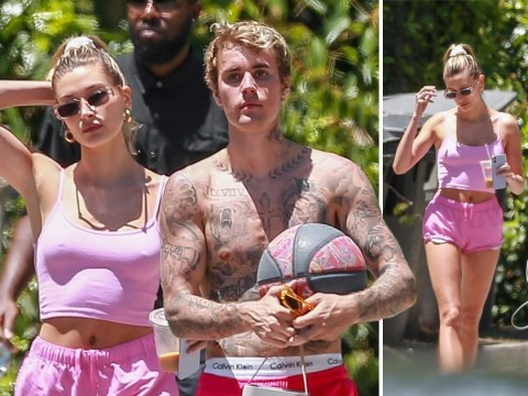 Justin Bieber and Hailey Baldwin are pretty in matching pink outfits on Memorial Day