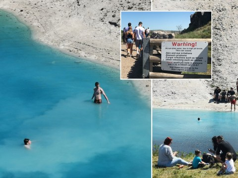Day-trippers ignore warning signs and swim in toxic 'Blue Lagoon'