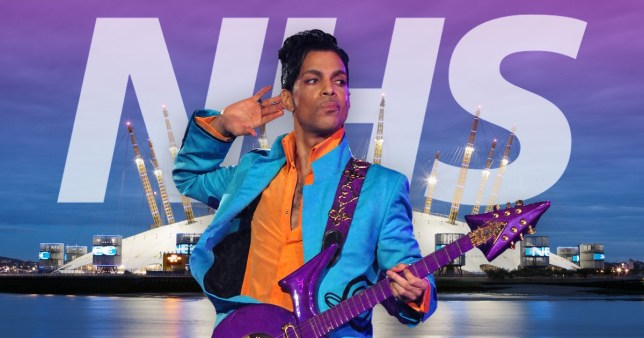 Prince pictured in front of London's O2 Arena with the NHS logo