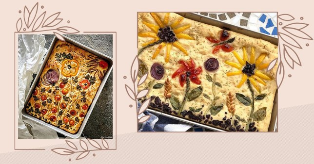 two different artistic focaccia breads on instagram