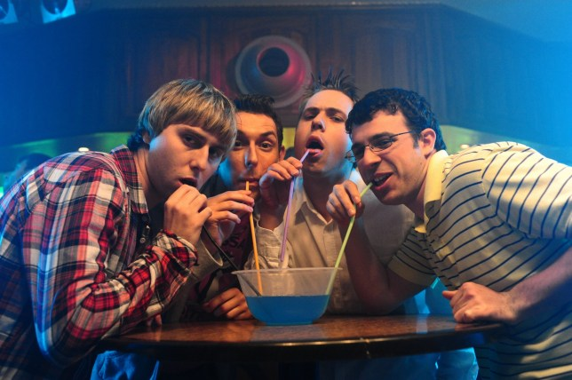 Film: The Inbetweeners Movie (2011) James Buckley, Blake Harrison, Joe Thomas & Simon Bird Director(s): Ben Palmer 17 August 2011 SAB7089 Allstar Picture Library/Film Four **Warning** This Photograph is for editorial use only and is the copyright of Film Four and/or the Photographer assigned by the Film or Production Company & can only be reproduced by publications in conjunction with the promotion of the above Film. A Mandatory Credit To Film Four is required. The Photographer should also be credited when known. No commercial use can be granted without written authority from the Film Company. Character(s): Jay Cartwright, Neil Sutherland, Simon Cooper, Will McKenzie abcde 6 18