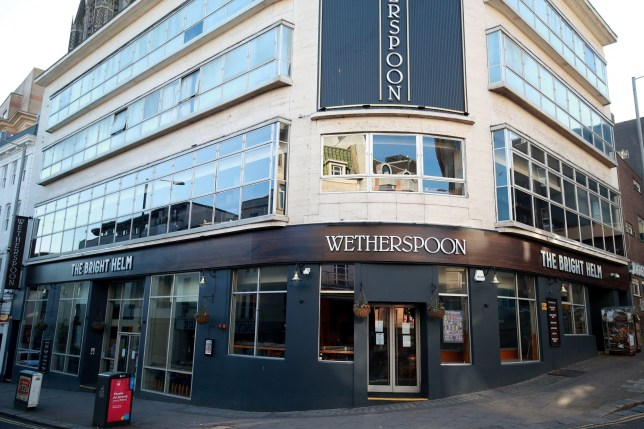 The Bright Helm Wetherspoons pub in Brighton sits closed
