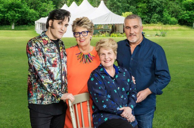 The Great British Bake Off (2018) - Presenters: Noel fielding, Sandi Toksvig and Judges Paul Hollywood, Prue Leith.