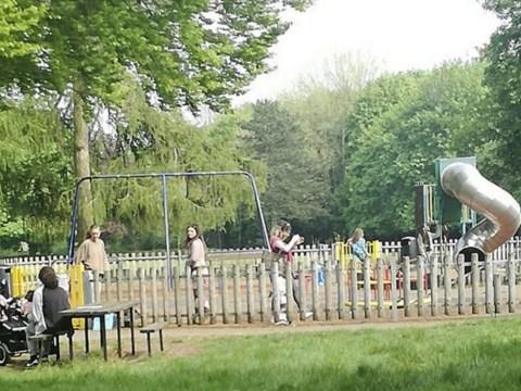 Mums occupy children's playground in protest against lockdown