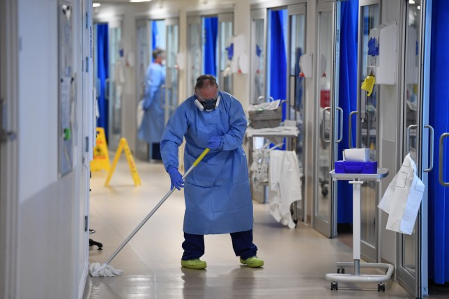 CAMBRIDGE, UNITED KINGDOM - MAY 05: Clinical staff wear Personal Protective Equipment (PPE) as they clean the Intensive Care unit at Royal Papworth Hospital on May 5, 2020 in Cambridge, England.
