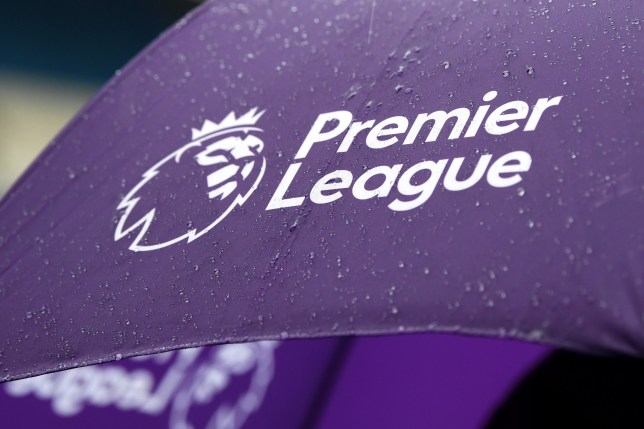 MANCHESTER, ENGLAND - OCTOBER 26: A detailed view of the Premier League logo is seen on an umbrella prior to the Premier League match between Manchester City and Aston Villa at Etihad Stadium on October 26, 2019 in Manchester, United Kingdom. (Photo by Michael Regan/Getty Images)