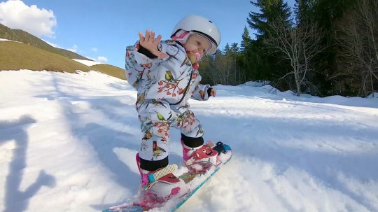 Video grab from footage showing Lumi (Meaning Snow), 7 , Martti, 4 and Peppa, 1 showing off their snowboarding skills on the slopes of Kartitsch, Tyrol, Austria.