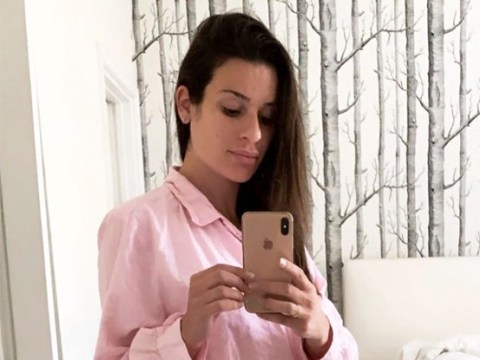 Lea Michele reveals her baby bump in comfy pink pyjamas one week after confirming pregnancy