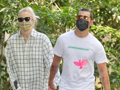 Sophie Turner rocks bunny slippers and face mask for daily lockdown walk with Joe Jonas amid 'pregnancy' rumours