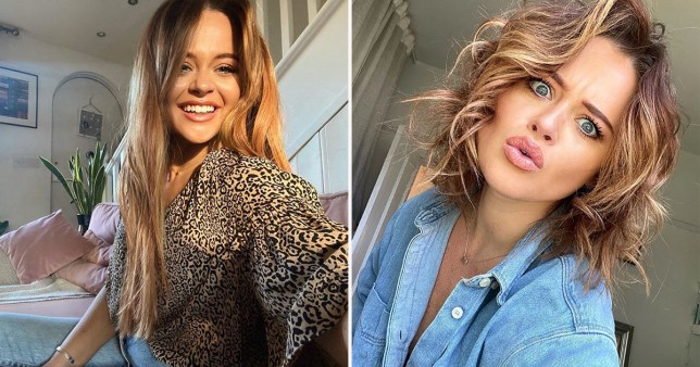 Emily Atack before and after cutting her hair