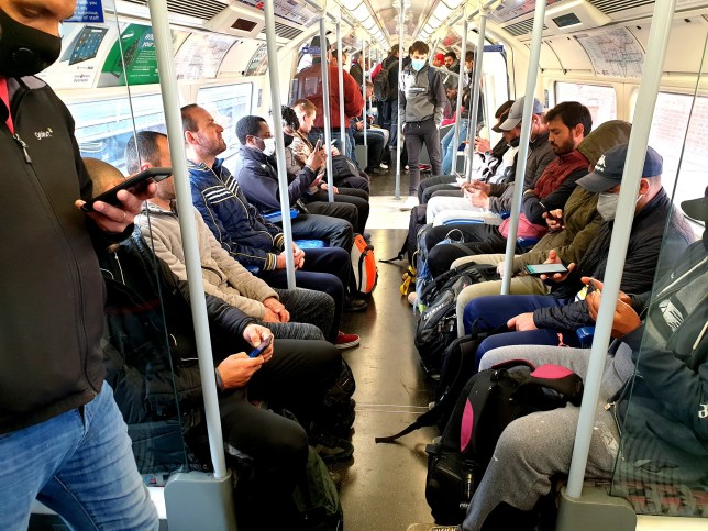 A London Tube train on Wednesday May 13 as England goes back to work with social distancing impossible on public transport