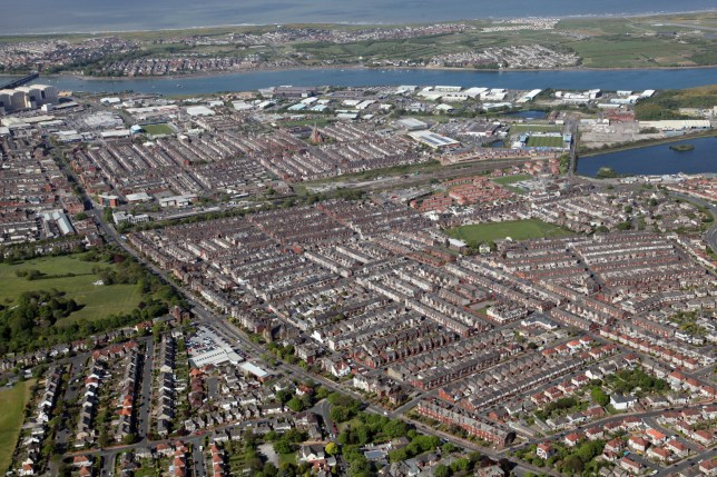 Aerial view of Barrow in Furness town in Cumbria
