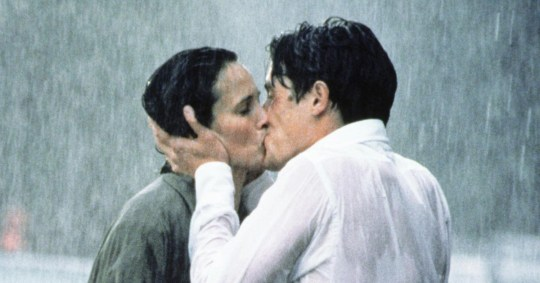 Andie Macdowell and Hugh Grant kissing in Four Weddings and A Funeral - 1994