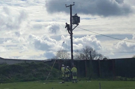 Ron managed to avoid the box as it landed in his field, and escaped an 11,000 volt shock from the tumbling cables.
