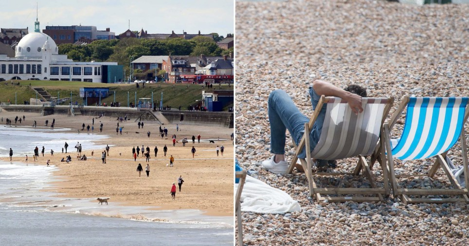 People flock to the beach on hottest day since lockdown eased in England