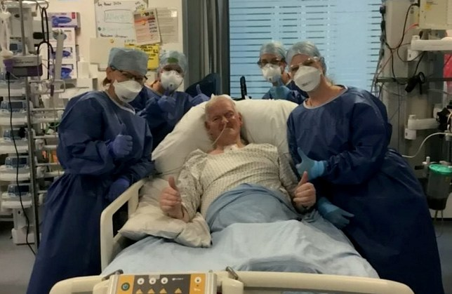 Brian Harvey at Bristol Royal Infirmary after spending four weeks in an induced coma for coronavirus Covid-19