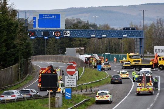 A man who tried to kill himself by driving his car into a lamppost has pleaded guilty to killing a father-of-three after careering into his car by accident. Kirk Butcher, 45, from Ebbw Vale, died at the scene of the crash on the M4 near junction 25A at Newport in the early hours of Sunday, April 5. His Nissan Micra was hit by a Mercedes Sprinter van driven by Thomas Hughes, 23, which had left the A4042 and collided with Mr Butcher's vehicle head on. Pic shows emergency services at the scene Credit: Media Wales