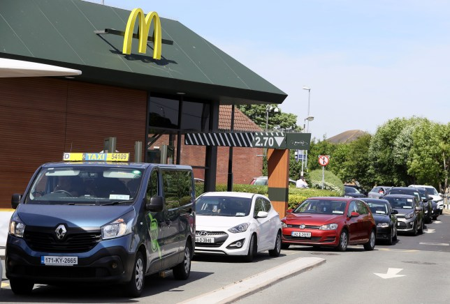 Cars at a McDonald's drive-thru