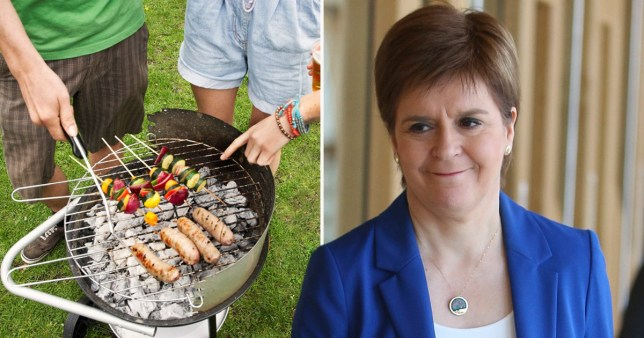 Barbecue in a garden and Scotland's First Minister Nicole Sturgeon. Scotland may be able to have small group barbecues from next weekend as lockdown eases
