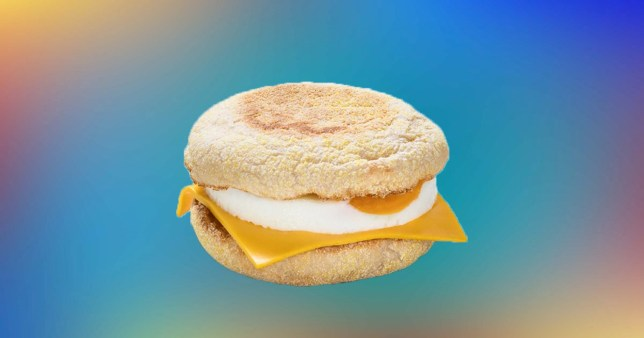 close up of a McMuffins on a colourful background