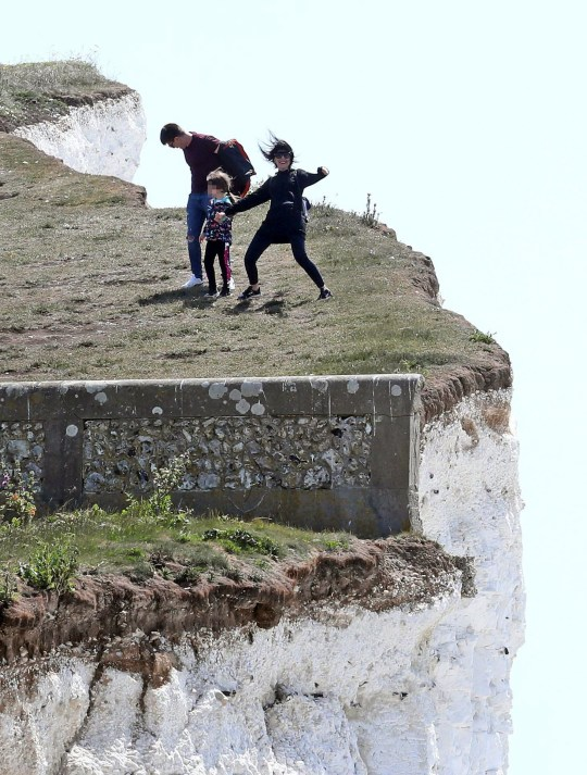 The girl was with her family at Birling Gap, near Eastbourne, East Sussex on Sunday