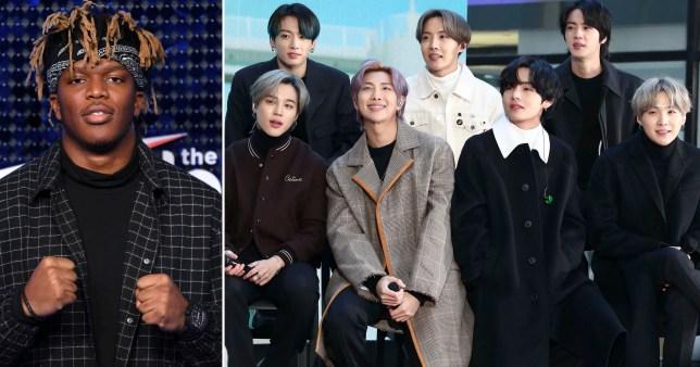 Rapper KSI pictured alongside K-pop boyband BTS