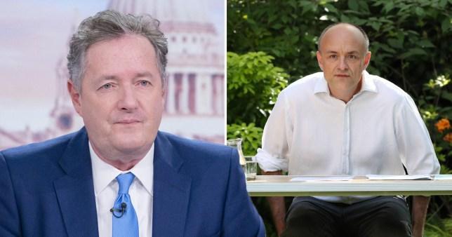 Piers Morgan pictured separately alongside Dominic Cummings