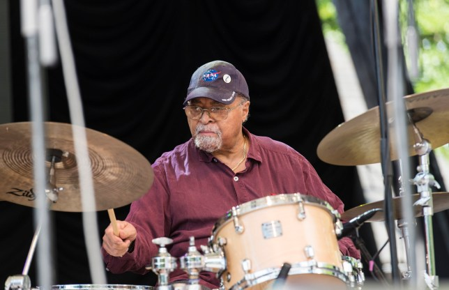 American Jazz musician Jimmy Cobb plays drums