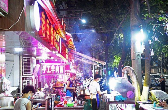 Bustling night markets in Wuhan in May, 2020, during the Covid-19 pandemic