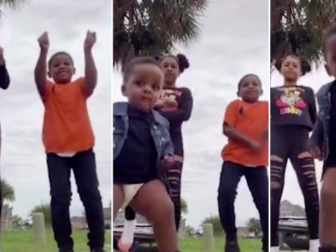 Little boy in nappy interrupts siblings' TikTok dance and steals the show