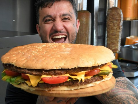 A restaurant is offering £1,000 to anyone who can eat this 14 inch, 4.5lb burger in 20 minutes