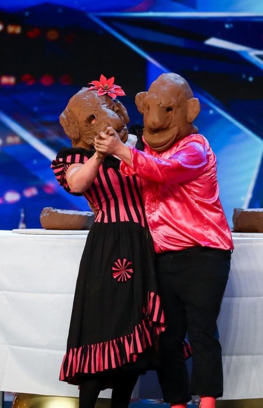 STRICTLY EMBARGOED, NO USE BEFORE 10.00am GMT SATURDAY 30th MAY 2020. Editorial use only. No book publishing. Mandatory Credit: Photo by Dymond/Thames/Syco/REX (10663079b) Tom & Noelle (the Clayheads) 'Britain's Got Talent' TV Show, Series 14, Episode 8, UK - 30 May 2020