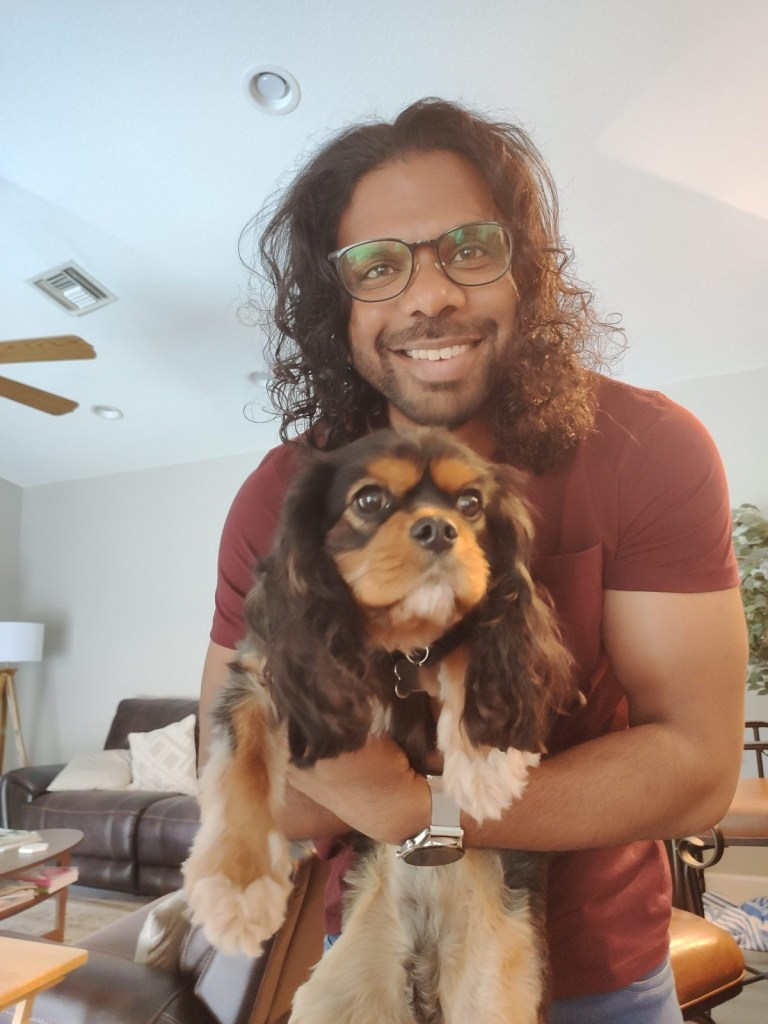 Santosh and dog