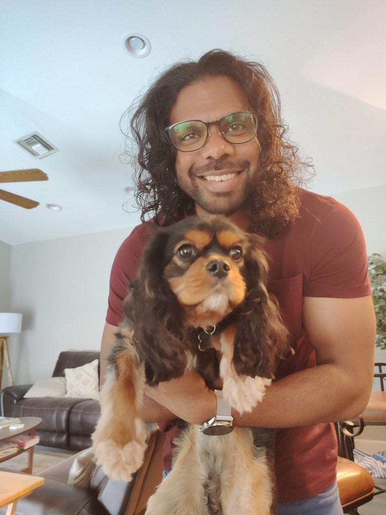 Santosh and dog
