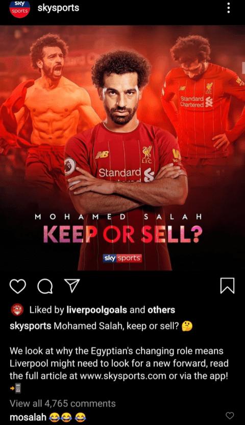 Postingan Sky Sport terkait Ma Salah