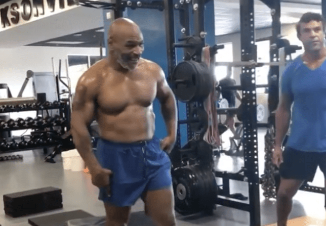 Mike Tyson in the gym