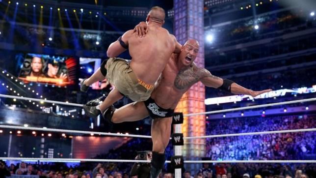 WWE superstar Dwayne The Rock Johnson battles John Cena at WrestleMania 29