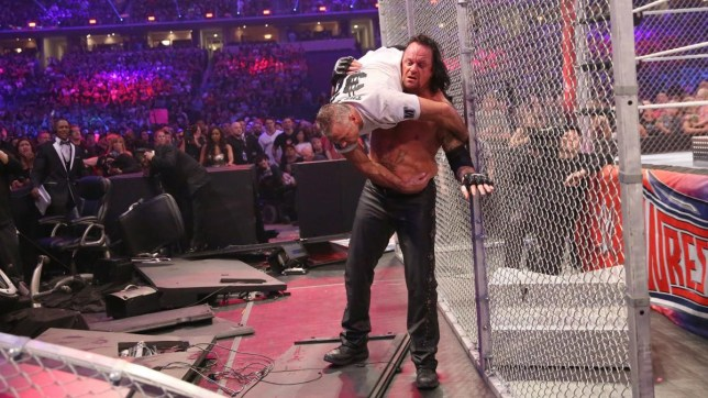 WWE superstars The Undertaker and Shane McMahon fight inside Hell in a Cell at WrestleMania 32