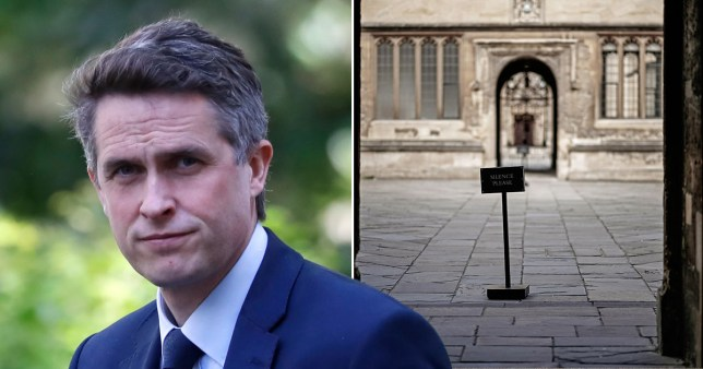 Education Secretary Gavin Williamson (left) and Oxford's Bodleian Libraries left deserted after university students have been sent home and the tourists are staying away during the Coronavirus lockdown on April 03, 2020 in Oxford, United Kingdom.
