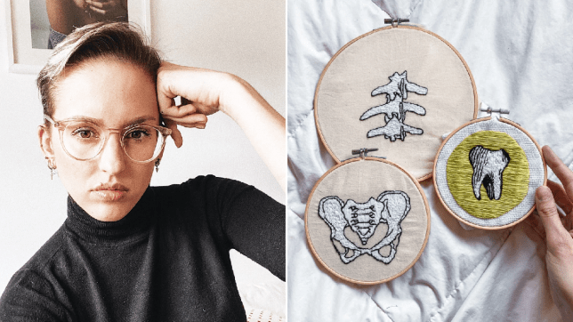 Andrea, and some fo her embroidery work