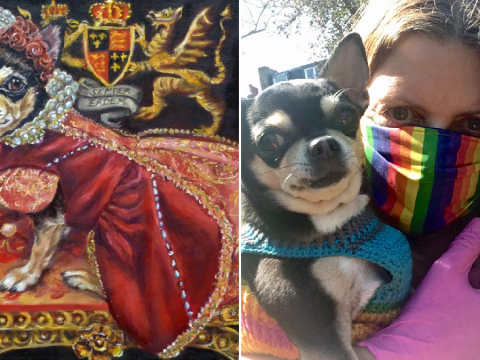 Artist with anxiety and depression finds solace by painting her chihuahua travelling to different times and places